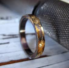 artisan wedding rings mens artisan wedding band oxidized sterling silver with yellow