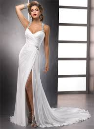 summer wedding dresses sheath straps beaded crystals chiffon summer wedding dresses with slit
