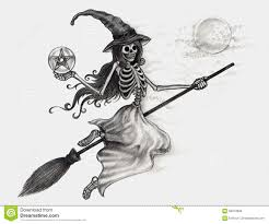 Drawing Of Halloween Halloween Witch Drawing Royalty Free Stock Photography Image