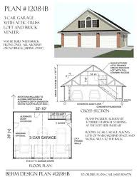garage plans 3 car with attic truss loft 1208 1b 32 u0027 10 x 26