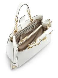 lyst michael michael kors cynthia medium satchel in white