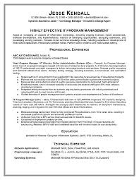 program manager resume program manager resume exle