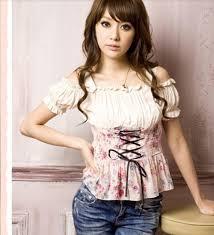 corset blouse floral shoulder sleeve corset blouse with