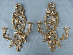 Gold Wall Sconces For Candles Vintage Burwood U0026 Syroco Gold Rococo Mirrors And Sconces