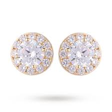 9ct gold stud earrings 9ct yellow gold cubic zirconia halo stud earrings gifts goldsmiths