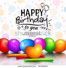 happy birthday greeting card party multicolored stock vector