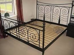 ikea black metal double bed frame and mattress for sale in
