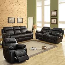 Power Reclining Sofa Set Weston Home Darrin Leather Reclining Sofa Set With Console Black