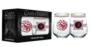 set of two game of thrones stemless wineglasses targaryen