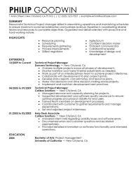 sample resume for project manager unforgettable technical project