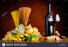 cuisine types food cuisine with wine and different types of pasta