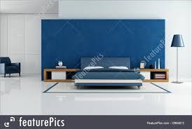 White And Blue Modern Bedroom Blue Modern Bedroom Illustration