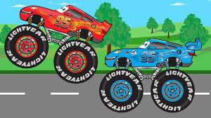 lightning mcqueen monster truck videos new dinoco truck vs mcqueen monster truck video for kids youtube
