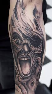 biomechanical tattoo face tattoo by pete the thief post 10380