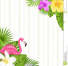 Tropical Flowers And Plants - beautiful seamless floral pattern background with pink flamingo