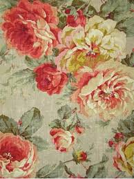 Shabby Chic Upholstery Fabric by Queen Bramble Floral 100 Cotton Duck Washed With Weathered