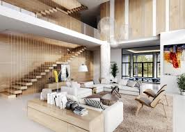 Living Room High Ceiling Living Room With Wooden Panels Living Room With Wooden Panels