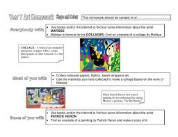 year 7 homework worksheets colour and shape line and texture