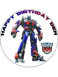 7 5 custom transformers optimus prime icing or wafer cake top topper