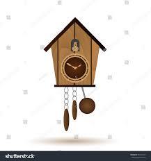 Wooden Wall Clock Wooden Wall Pendulum Clock Cuckoo Vector Stock Vector 557472229