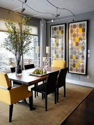 exquisite dining room with gray pops of yellow color schemes and