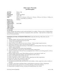 Resume Job Duties Head Cook Job Description Restaurant Chef Sample Resume Edi