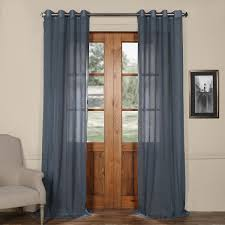 tahoe blue grommet solid faux linen 50 x 96 inch sheer curtain