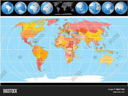 Vector World Map High Detailed Vector World Map With Globes Include All Countries