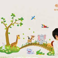 stickers animaux chambre bébé grand jungle animaux pont vinyle stickers muraux enfants chambre