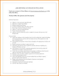 Sample Resume For Front Office Receptionist by 8 Medical Receptionist Job Description Introduction Letter