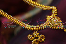gold haram sets nl3131 gold plated mango pearl haram traditional look necklace