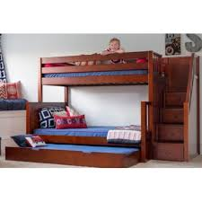 Sumo Twin Over Full Bunk Bed With Stairs Solid Maple Wood - Double double bunk bed