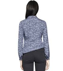 Tory Burch Plus Size Clothing Tory Burch Nicki Bow Blouse In Blue Lyst