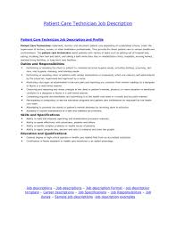 Maintenance Technician Job Description Resume by Patient Care Associate Cover Letter