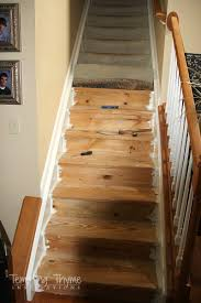 How To Get Paint Off Laminate Floor Stair Project Begins Removing The Carpet And Prepping The Wood