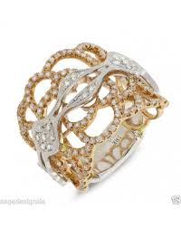fashion hand rings images 0 75 ct 18k two tone gold diamond cocktail fashion statement right jpg