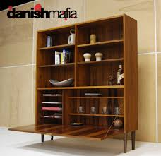 mid century danish modern rosewood wall unit book shelf display