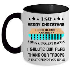 god bless america coffee mug i say merry accent mug