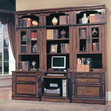 furniture walnut tall bookcase with glass door and storage drawer