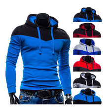 mens spell color stitching fashion hoodies leisure sweatshirt at