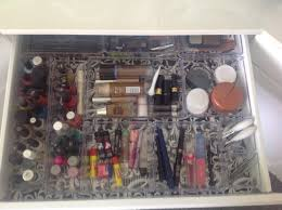 make up drawer re organization using organizers from the dollar