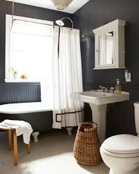black and white bathroom subway tile cream laminated wooden stair