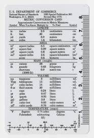 bureau of standards united states national bureau of standards metric conversion card