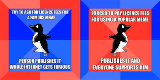 Peguin Meme - blog sued by getty images for using popular socially awkward