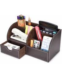 Desk Organizer Leather Big Deal On Oak Leaf 6 Compartment Leather Desk Organizer Office