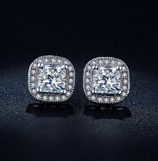 diamond earrings on sale cushion cut luxury swiss stud earrings angelsale