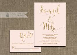 blush pink and gold wedding invitation u0026 rsvp 2 piece suite