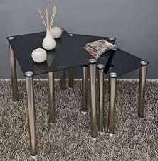 beistelltisch quadratisch schwarz amazon de 3er set glastisch beistelltisch ecktisch couchtisch