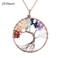 turquoise crystal necklace images Sedmart 7 chakra tree of life pendant necklace copper crystal jpg
