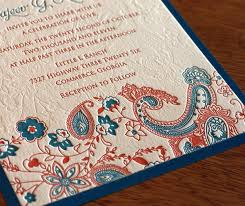 indian letterpress wedding invitation contemporary paisley designs